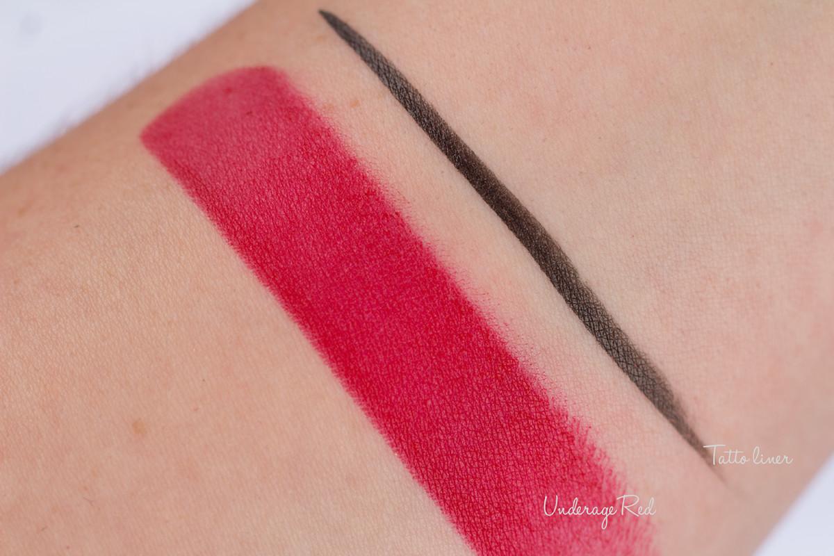 kat Von D tatto liner, lipstick swatch